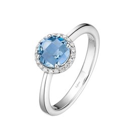 Lafonn March Birthstone Ring, Simulated Aqua and Lassaire .20 CTTW