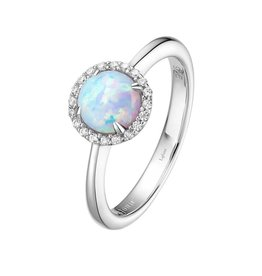 Lafonn October Birthstone Ring, Lab Grown Opal and Lassaire .20 CTTW