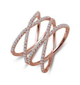 Lafonn Double Cross Ring, Rose Gold