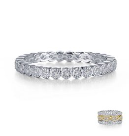 Lafonn Sterling Silver Platinum Milgrain Eternity Band 0.29 CTTW