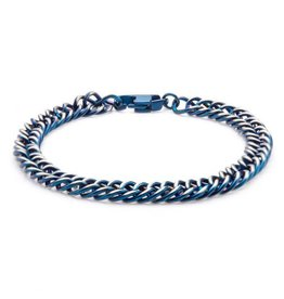 INOX Steel Blue Plated Curb Chain Bracelet 8.5""
