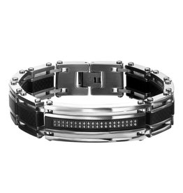 INOX Solid Carbon Fiber with CZ ID Link Bracelet, 8.3""