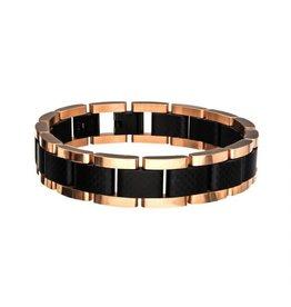 "INOX Steel Black and Rose Gold Link Bracelet, 8.5"""
