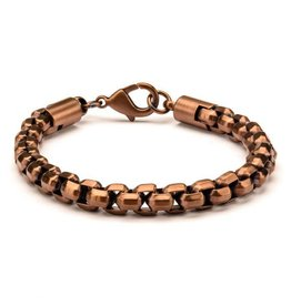 "INOX Rose Gold Plated Round Box Chain Bracelet, 8.5"""