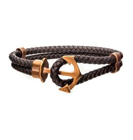 """INOX Brown Leather Anchor Bracelet, 8.5"""""""