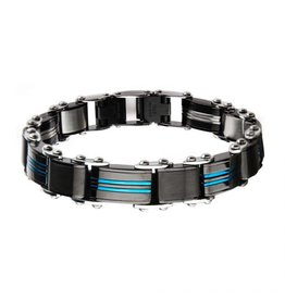 """INOX Double Sided Stainless Steel Black and Blue Plated Bracelet, 8.25"""""""