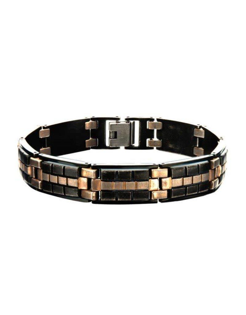 INOX Antique Black And Rose Gold Bracelet, 7.25''