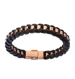 "INOX Black Leather Braided Bracelet, Rose Gold, 8"""