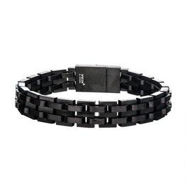 """INOX Black Steel Link Bracelet, 8.25"""""""