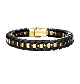 INOX Black Leather Bracelet with Gold Bar, 8.5""