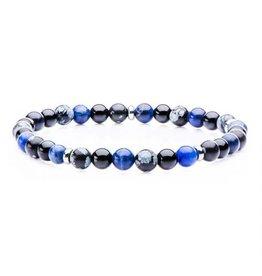 """INOX Sodalite, Black Agate, Snowflake, Stainless Steel Beaded Bracelet, 8"""""""