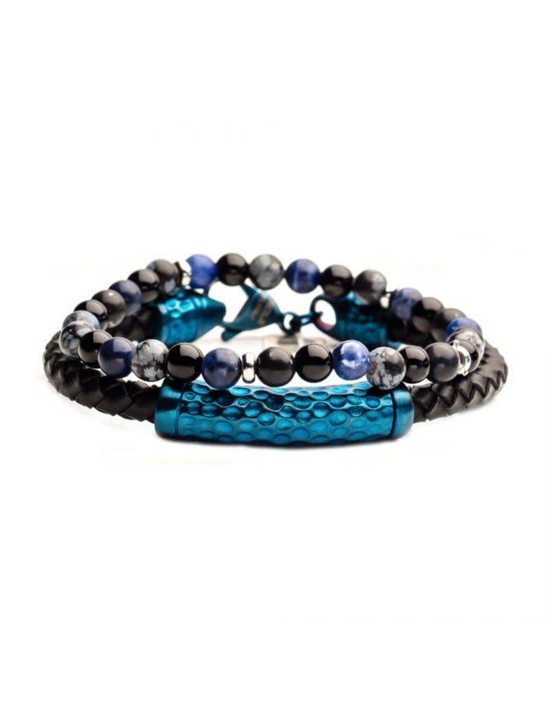 INOX 2PC Bracelet Set - Onyx Beaded, Blue Steel Leather Bracelets