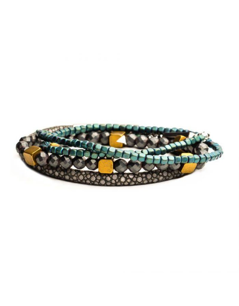INOX 3PC Bracelet Set - Grey Leather, Green Beaded, Grey Beaded Bracelets