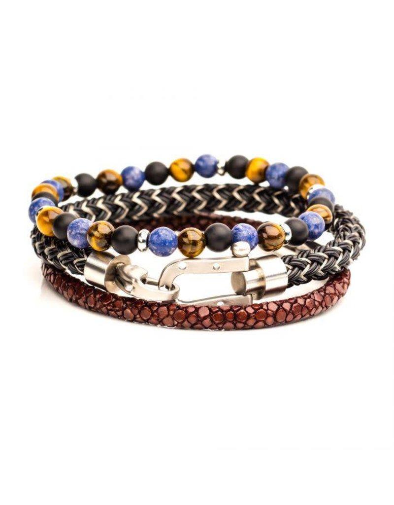 INOX 3PC Bracelet Set - Brown Leather, Stone Beaded, Steel Bracelets