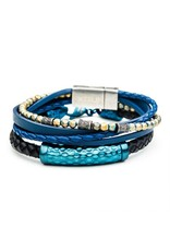 INOX 2PC - Blue Multi Leather and Hematite Bead Stackable Bracelets
