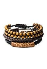 INOX 3PC - Cappuccino Leather and Brown Hematite Bead Stackable Bracelets