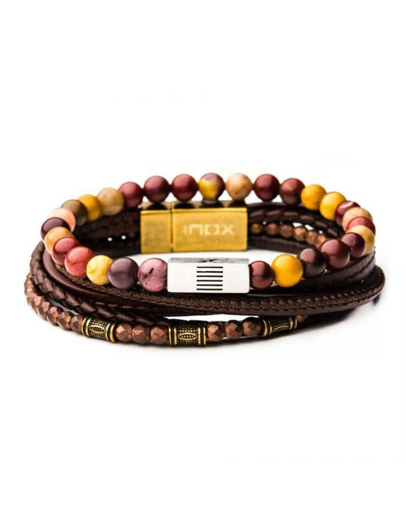 INOX 2PC - Multi Leather Mookite Stackable Bracelets