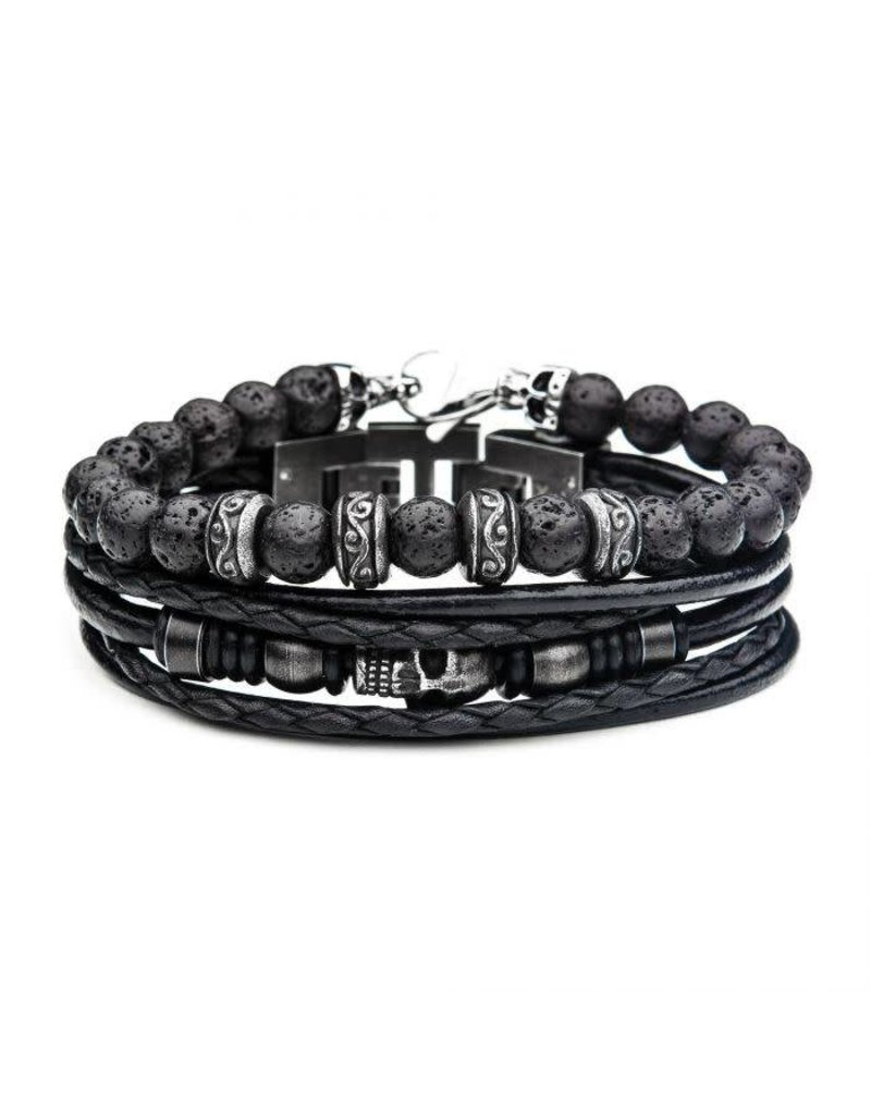 INOX 2PC - Lava Multi Skull Leather Stackable Bracelets