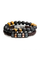INOX 2PC - Lava Bead Station Leather Stackable Bracelets