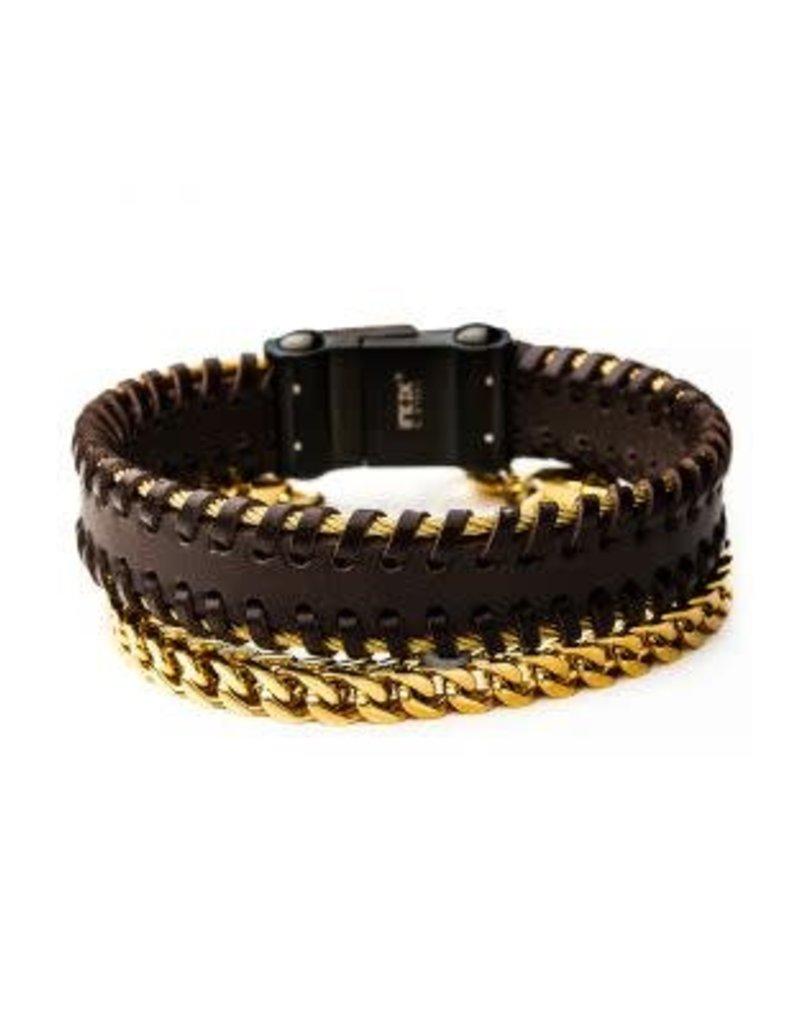 INOX 2PC - Franco Leather Stackable Bracelets