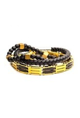 INOX 3PC - Gold Chain Link, Black Beaded, K Leather Braided Bracelets