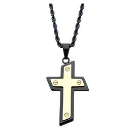 INOX Black and Gold Cross Necklace