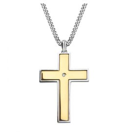 """INOX Lords Prayer and Spinner Cross Necklace, 30"""""""