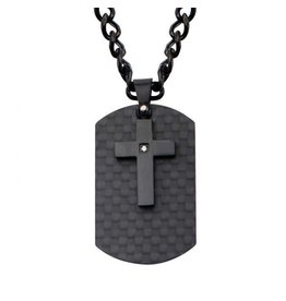 INOX Black Cross and Dog Tag Necklace