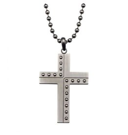 INOX Gunmetal Dotted Cross Necklace, Gunmetal Chain, 24""
