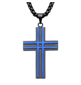 INOX Black and Blue Steel Cross Necklace