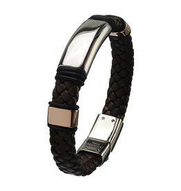 INOX Brown Braided Leather Cuff with Silver Bar Accent