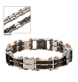 """INOX Black and Rose Gold Plated Reversible Bracelet 7.75"""""""