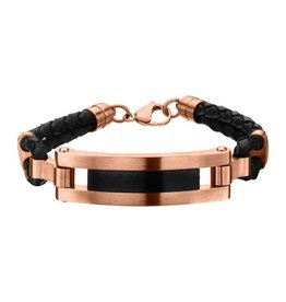 INOX Rose Gold Plated & Matte Black Finished ID in Black Leather Bracelet