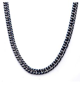 INOX Steel Blue Plated Curb Chain Necklace 22""
