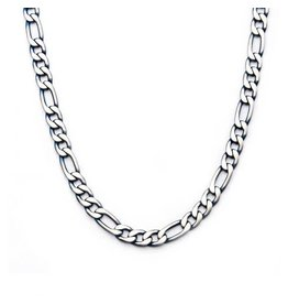 INOX Steel Blue Plated Figaro Chain Necklace 24""