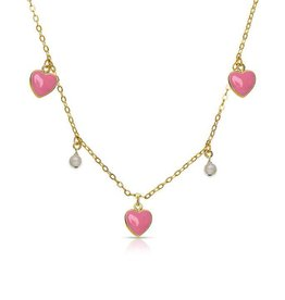 Lily Nily Hearts and Pearls Dangle Necklace - Pink