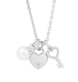 Lily Nily Heart Lock & Key, Freshwater Pearl Charm Necklace, Sterling Silver
