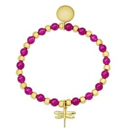 Lily Nily Bead & Gold Ball Stretch Bracelet in Gold over SS, Pink Fuchsia