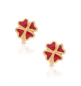 Lily Nily Four Leaf Clover Stud Earrings (Red)