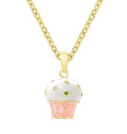 Lily Nily 3D Cupcake Pendant - Pink/White