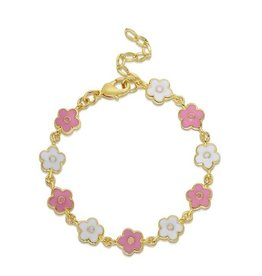 Lily Nily Flower Link Bracelet - Pink/White