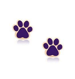 Lily Nily Dog Paw Stud Earrings - Purple