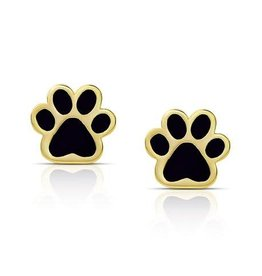 Lily Nily Dog Paw Stud Earrings - Black