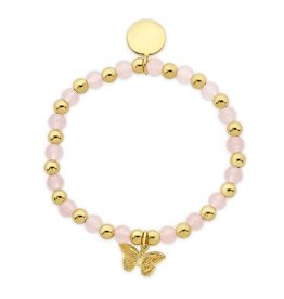 Lily Nily Bead & Gold Ball Stretch Bracelet in 18K Gold over Sterling Silver, Pink Jade