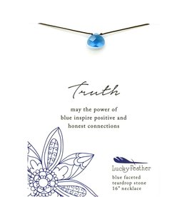 Lucky Feather Truth Blue Faceted Stone Necklace