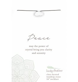 Lucky Feather Peace Crystal Faceted Stone Necklace