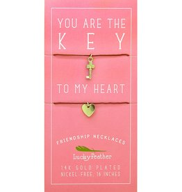 Lucky Feather Friendship Necklace - Gold - KEY/HEART