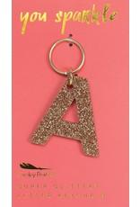 Lucky Feather A Glitter Keychain