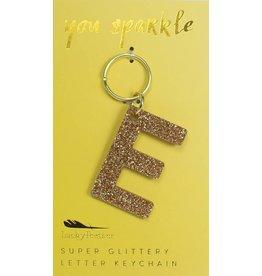 Lucky Feather E Glitter Keychain