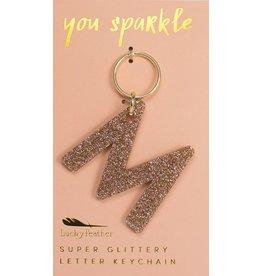 Lucky Feather M Glitter Keychain
